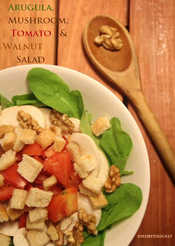 Arugula, Mushroom, Tomato & Walnut Salad