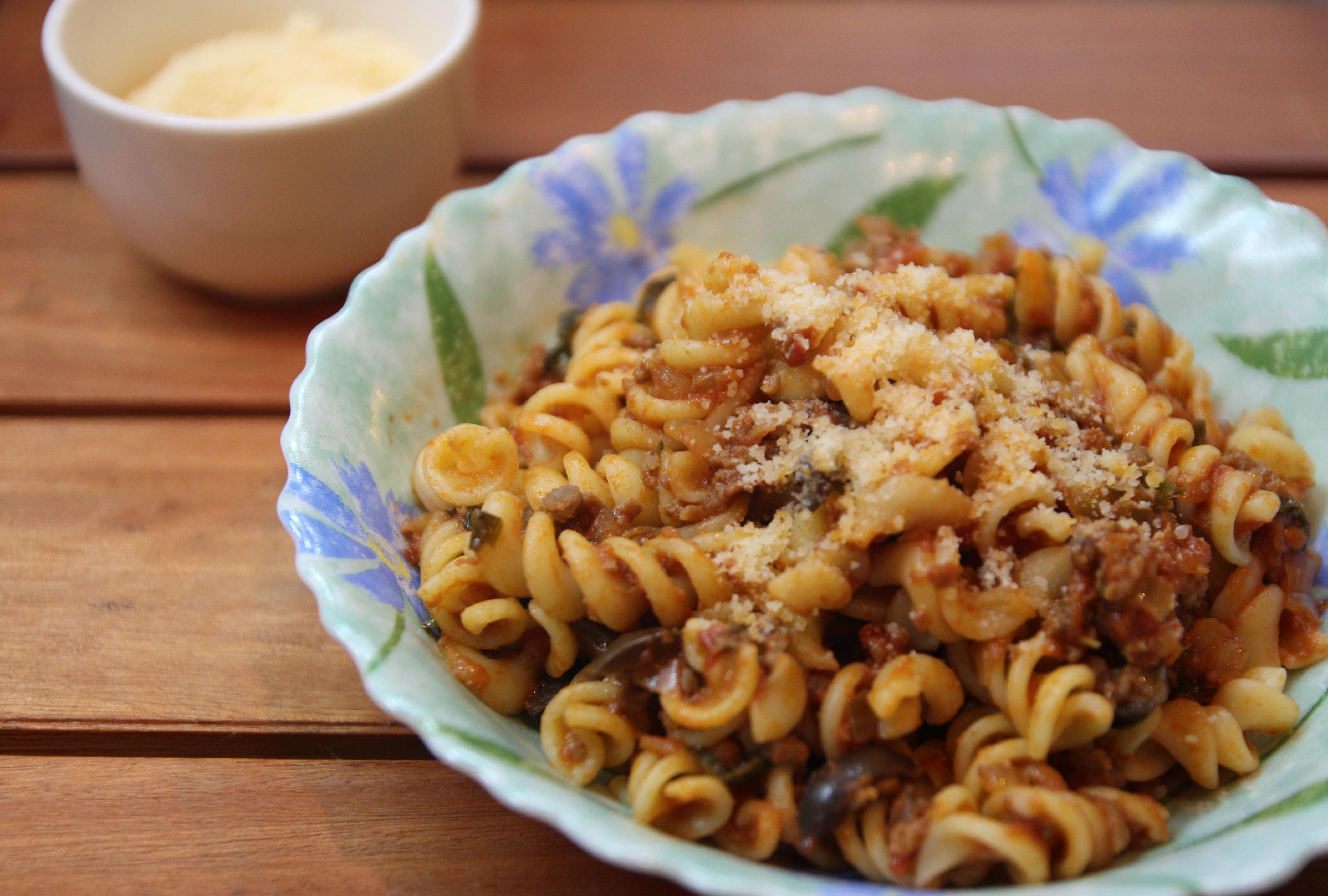 Spiral Pasta with Mediterranean Meat Sauce4