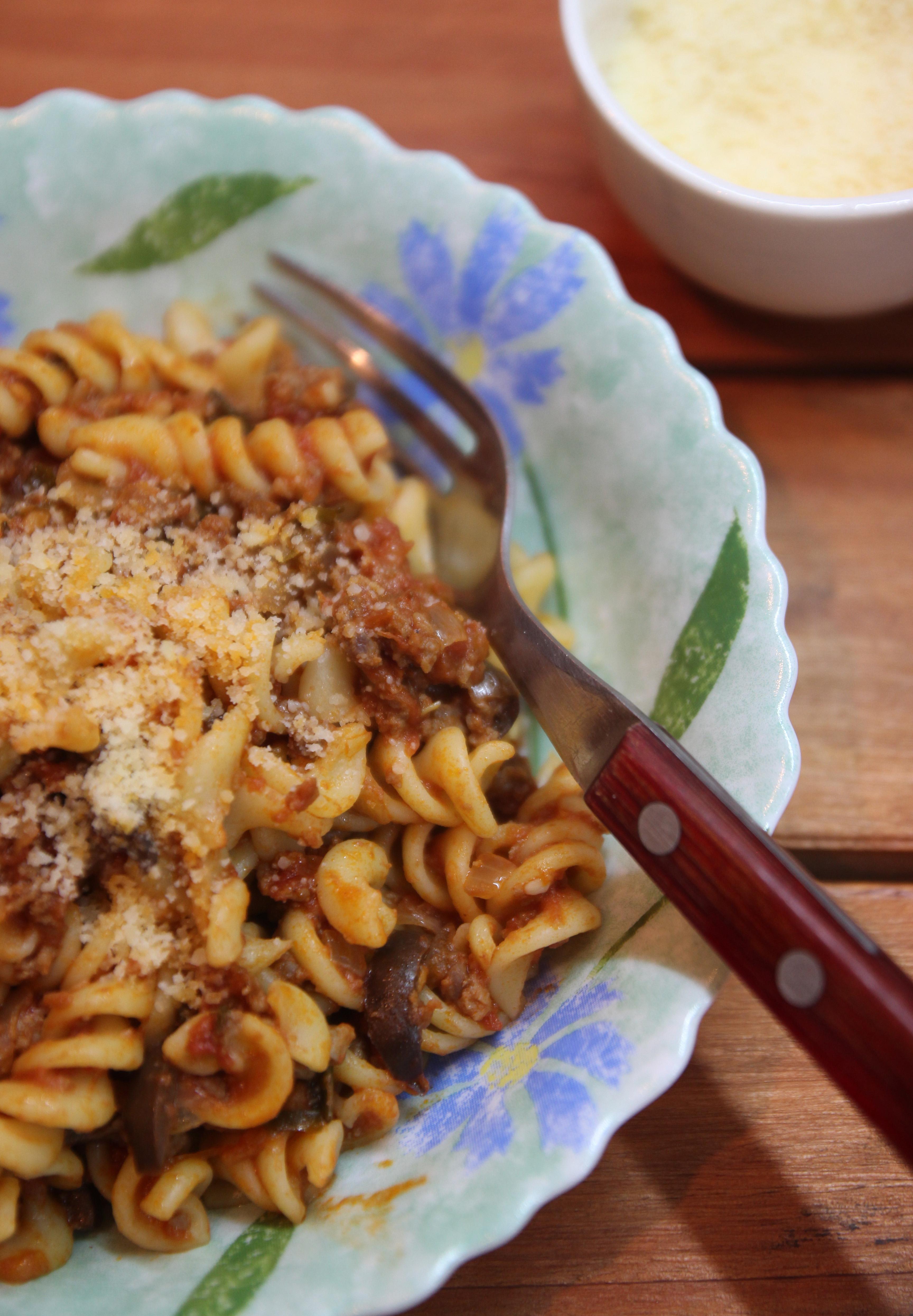 Spiral Pasta with Mediterranean Meat Sauce9