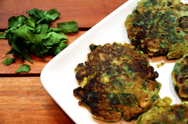 spring onion & spinach pancakes