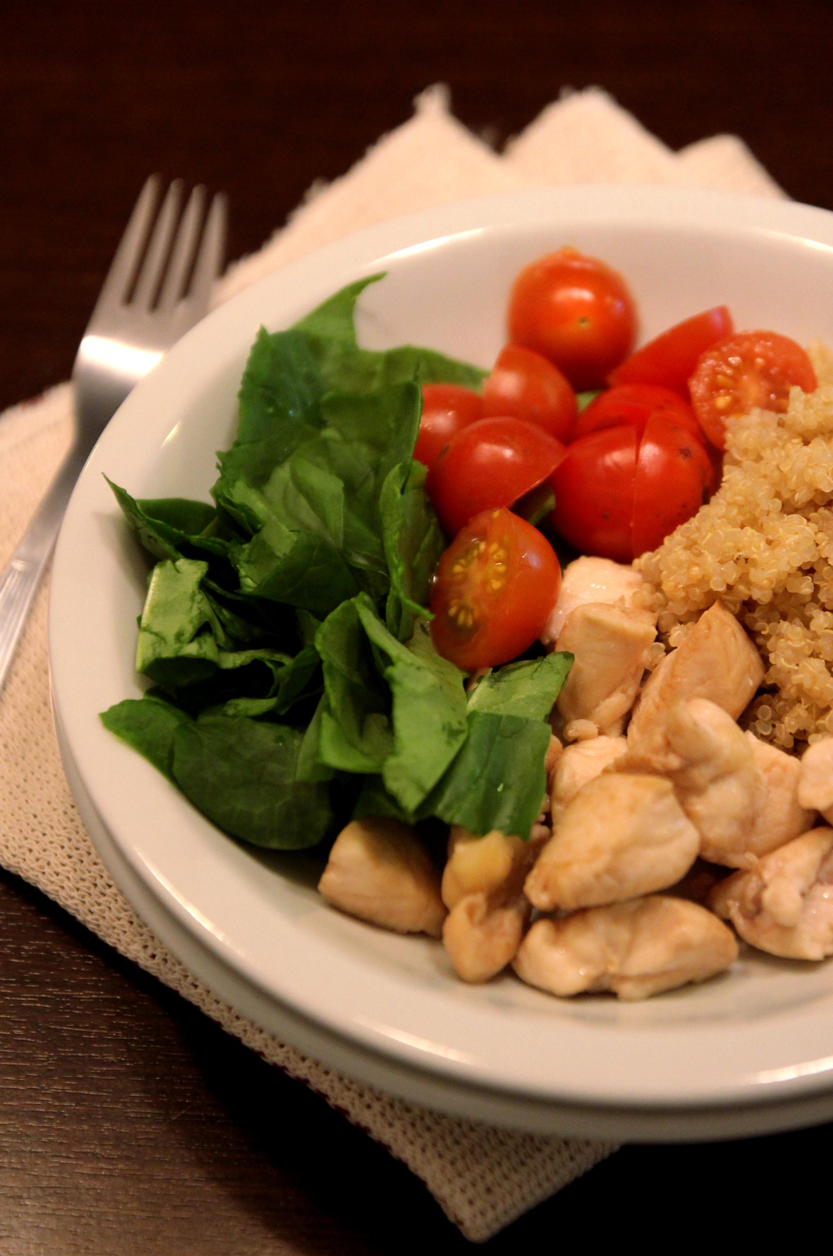Chicken Quinoa Salad with Tomato & Spinach1