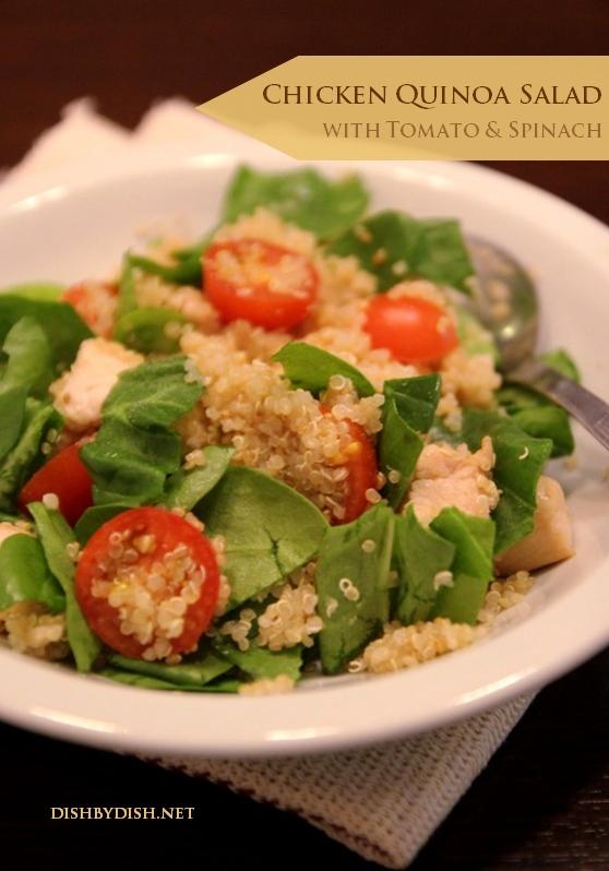 Chicken Quinoa Salad with Tomato & Spinach