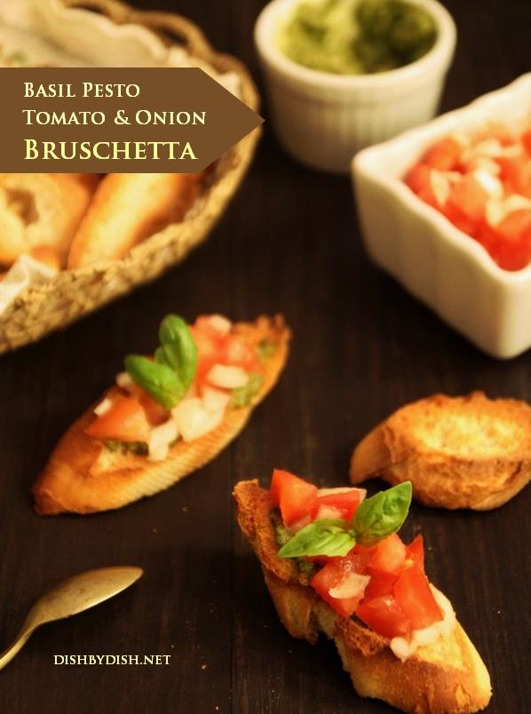 Basil Pesto, Tomato & Onion Bruschetta