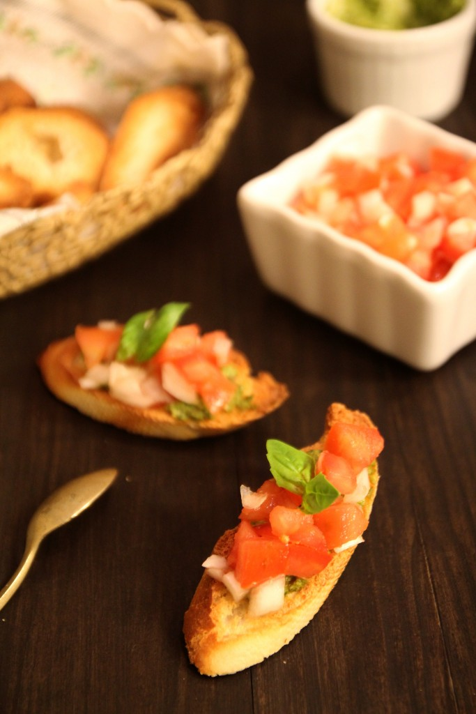 Basil Pesto, Tomato & Onion Bruschetta7