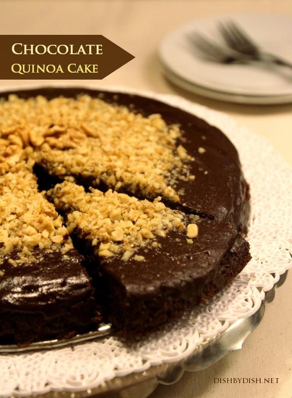 Chocolate Quinoa Cake with Vanilla Glaze & Walnuts