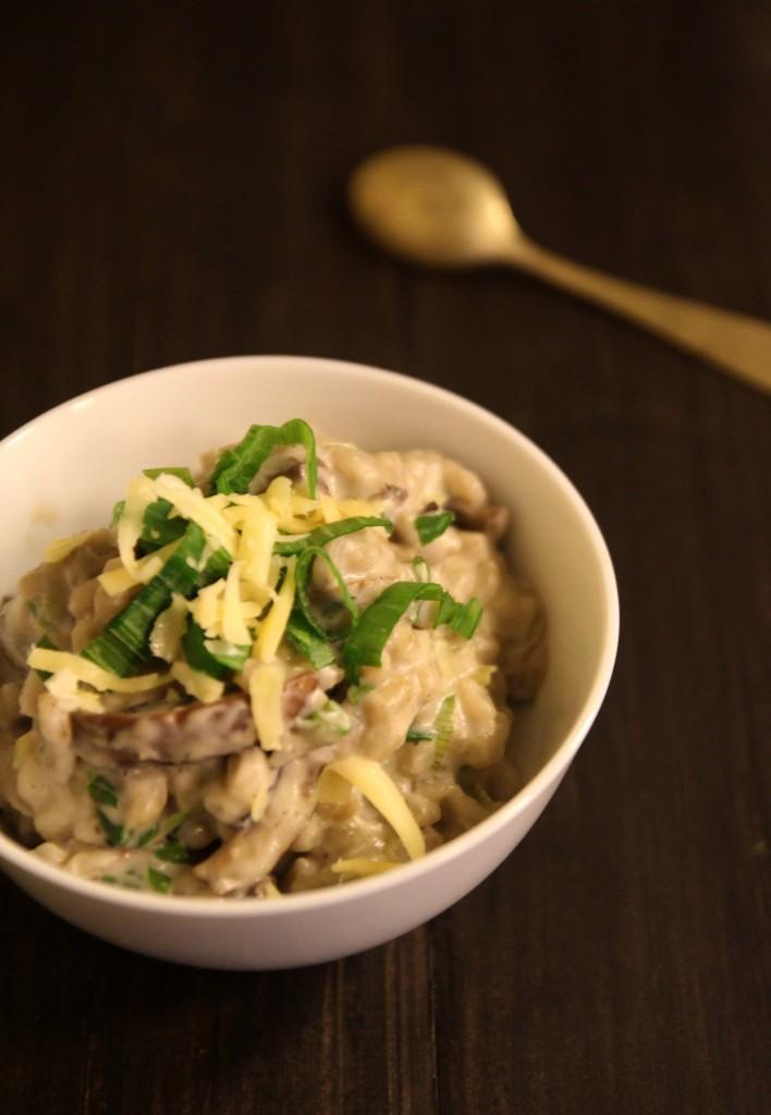 Warm Barley with Mushroom & Spring Onion Sauce6