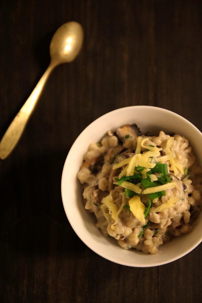 Warm Barley with Mushroom & Spring Onion Sauce9
