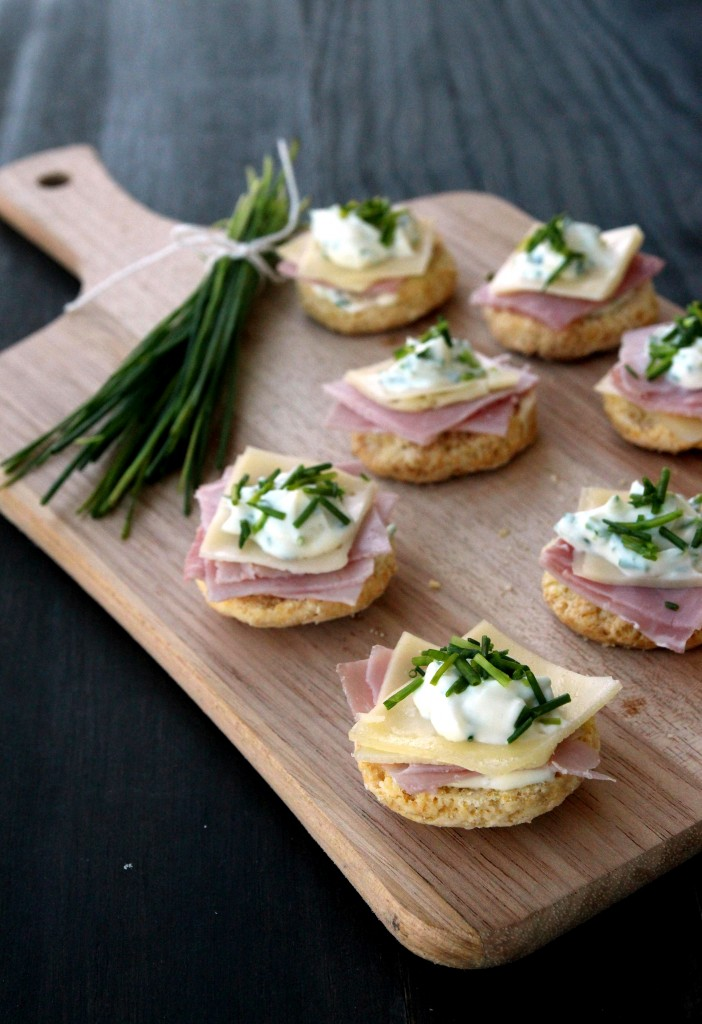 Ham, Cheese & Chives Topped Scones