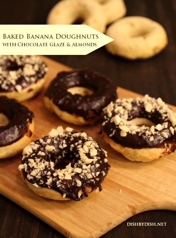 Baked Banana Doughnuts with Chocolate Glaze and Almonds