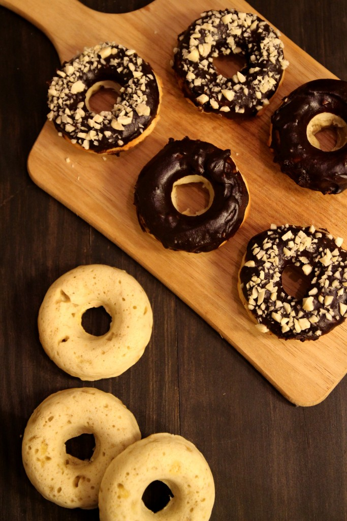 Baked Banana Doughnuts with Chocolate Glaze and Almonds12