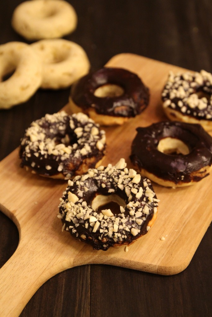 Baked Banana Doughnuts with Chocolate Glaze and Almonds5