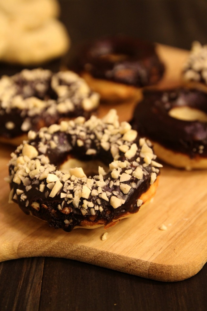 Baked Banana Doughnuts with Chocolate Glaze and Almonds6