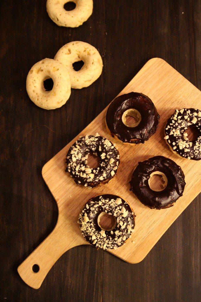 Baked Banana Doughnuts with Chocolate Glaze and Almonds7