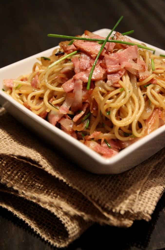 Caramelized Onion & Bacon Spaghetti2