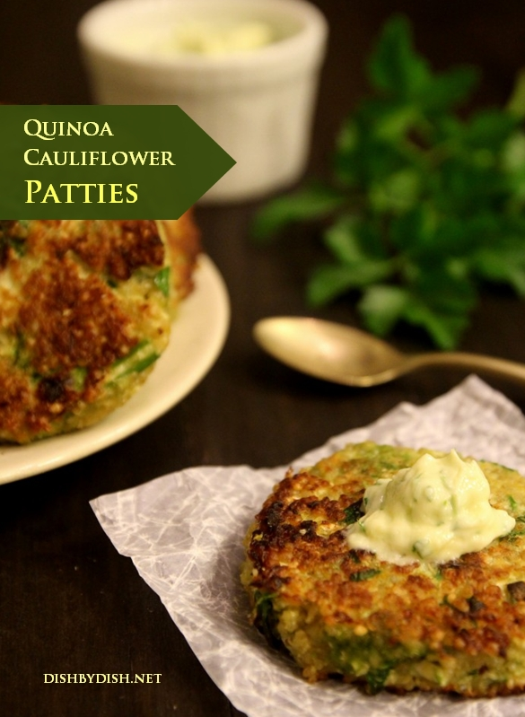 Quinoa Cauliflower Patties & Garlic Cream
