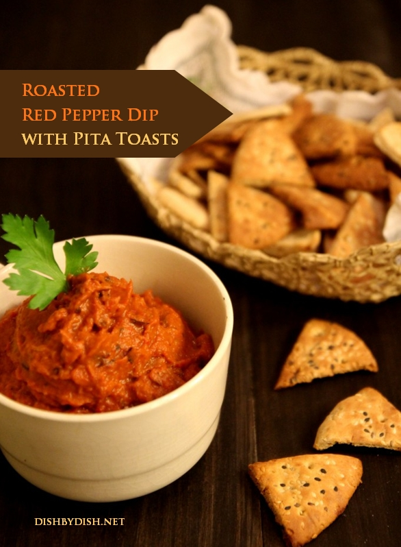 Roasted Red Pepper Dip with Pita Toasts