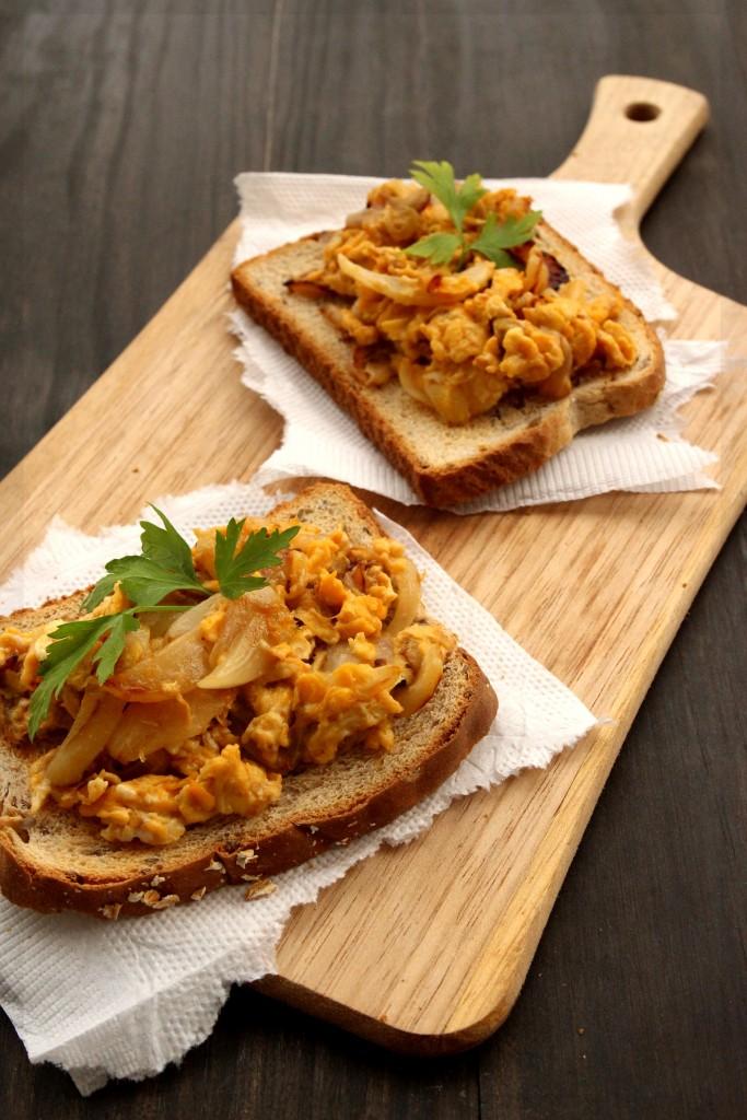 Caramelized Onions & Scrambled Eggs Tartine