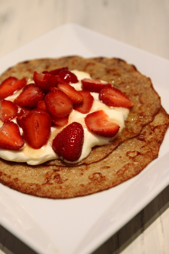 Strawberries & Cream Quinoa Dessert Crepes