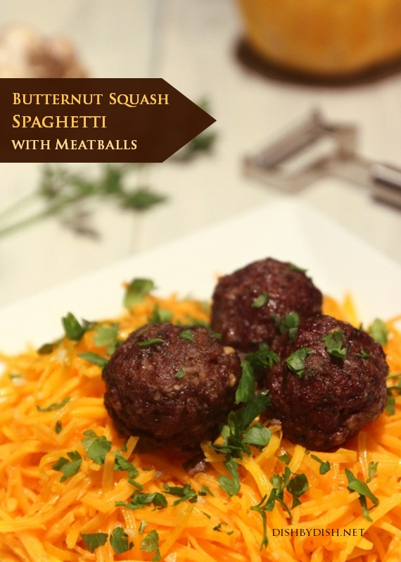 utternut Squash Spaghetti with Meatballs