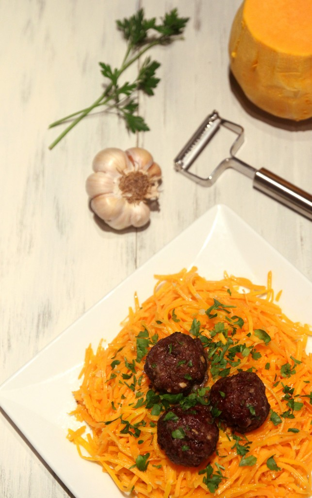 Butternut Squash Spaghetti with Meatballs