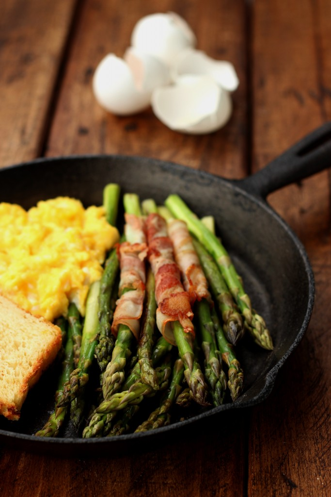 Sauteed Asparagus, Bacon and Scrambled Eggs