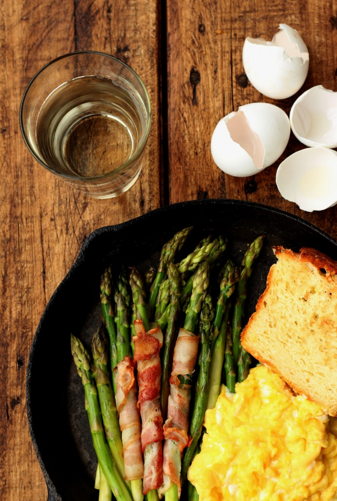 Sauteed Asparagus, Bacon and Scrambled Eggs