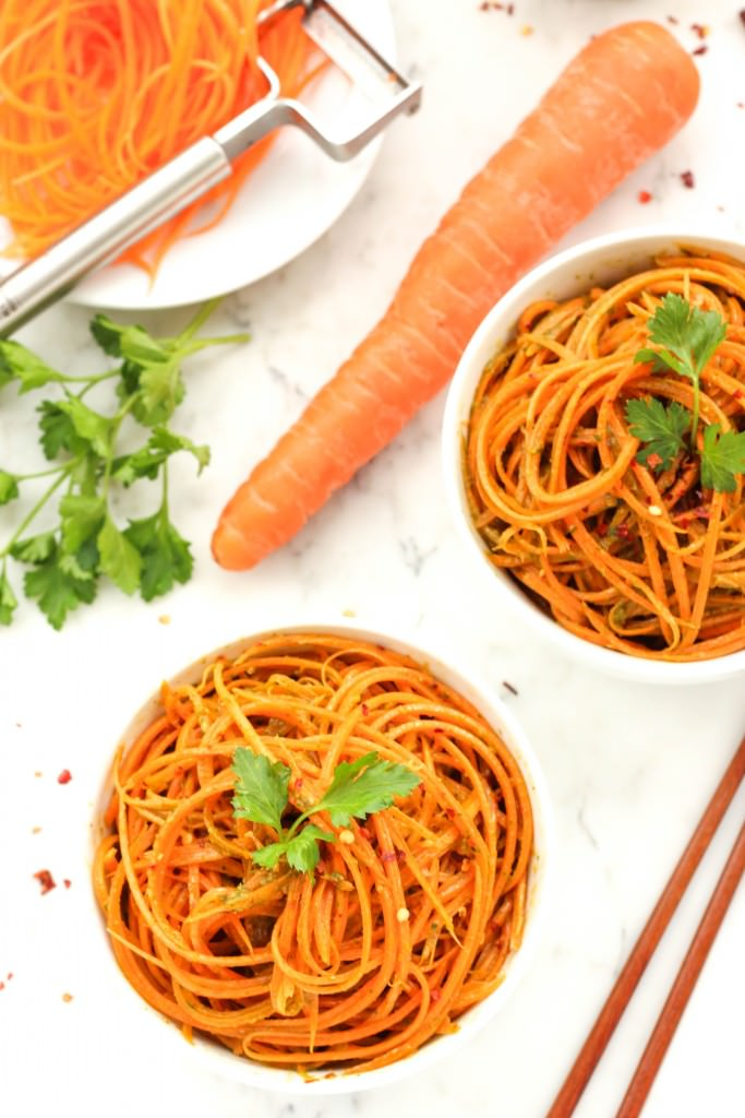 Carrot Noodles with Spicy Chimichurri Sauce