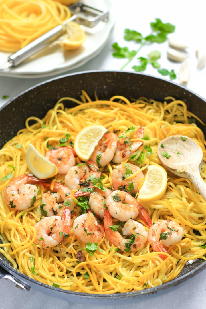 Garlic Butter Shrimp with Yellow Squash Noodles