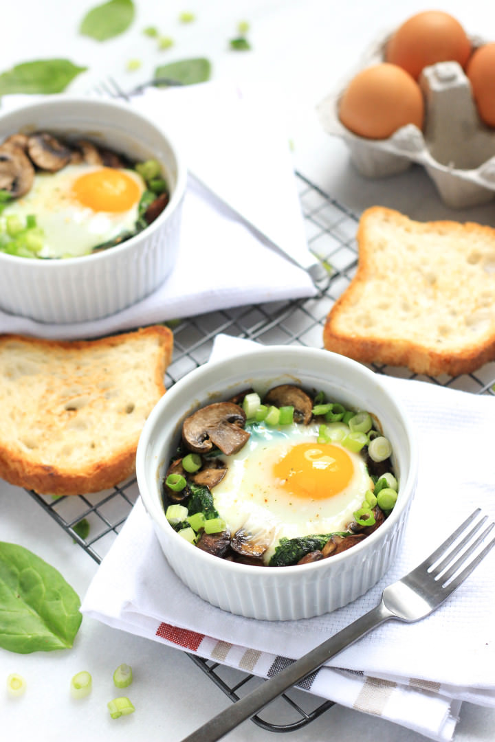Baked Eggs with Spinach and Mushrooms - Dish by Dish