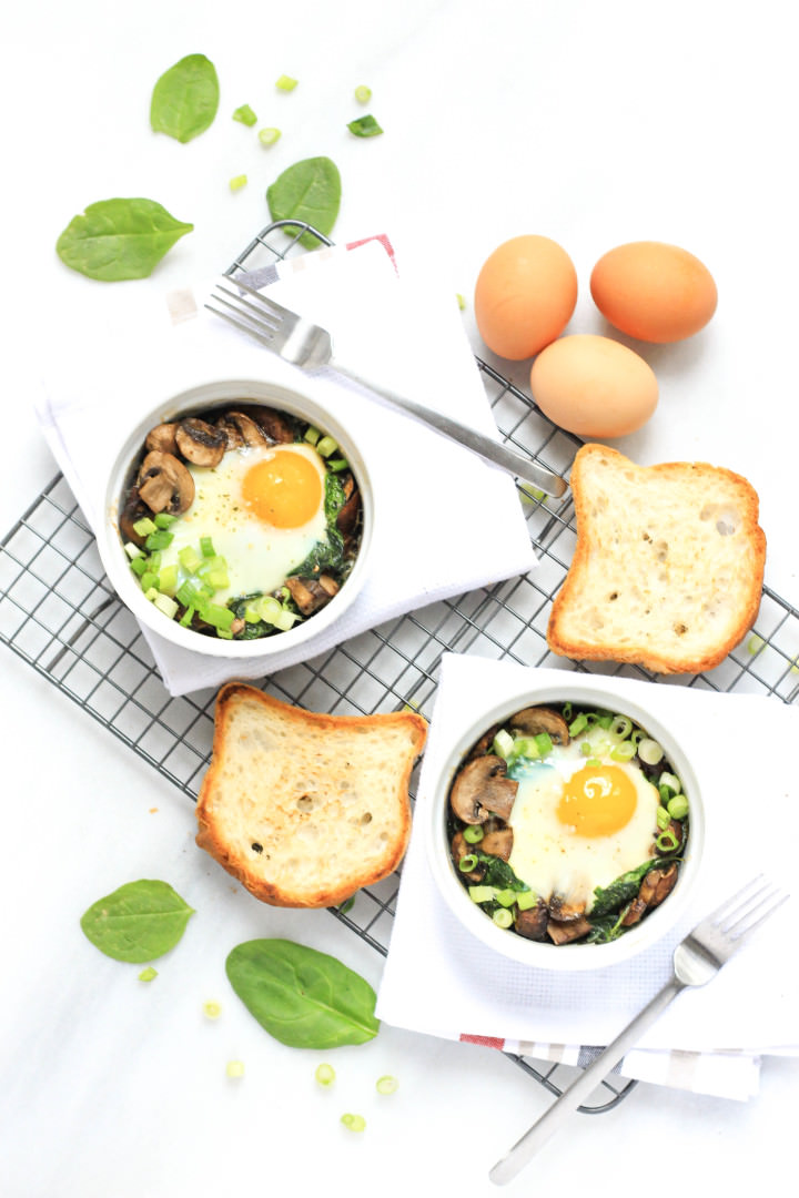 Baked Egg With Bacon, Spinach And Mushrooms Recipe — Dishmaps