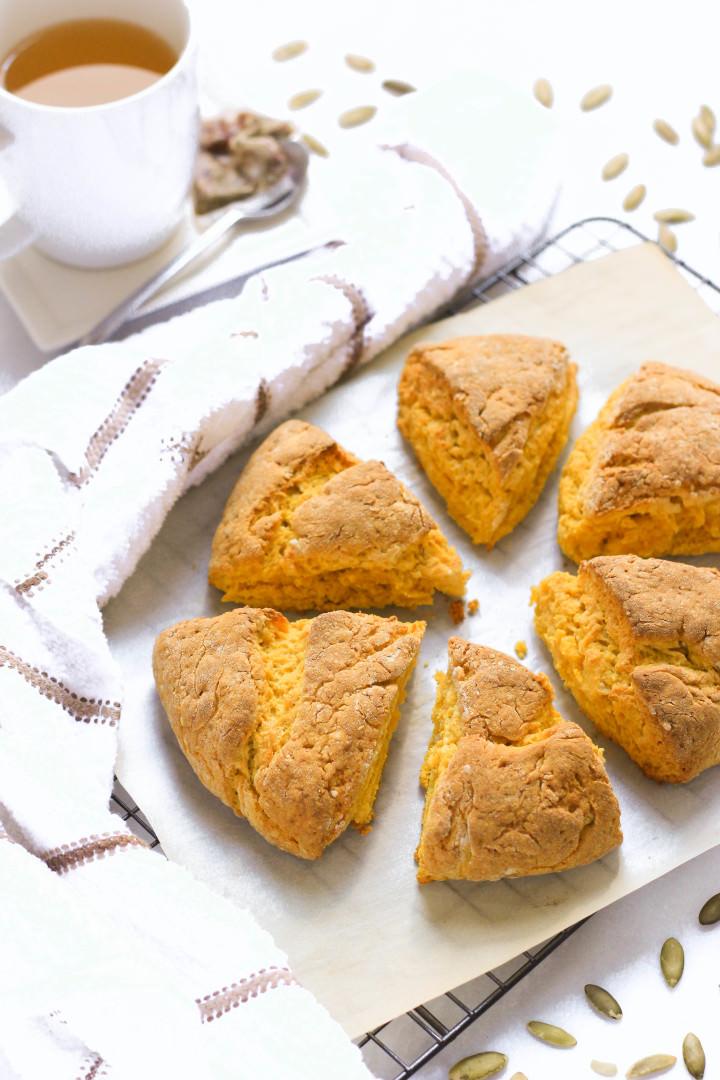 Close up shot of pumpkin scones.