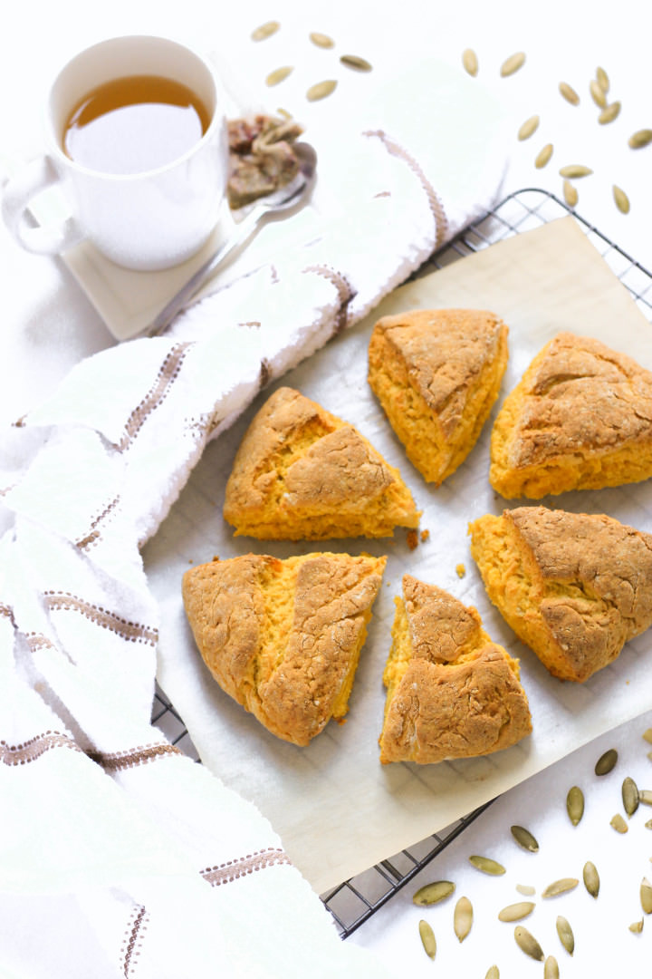Pumpkin scones just pulled from the oven.
