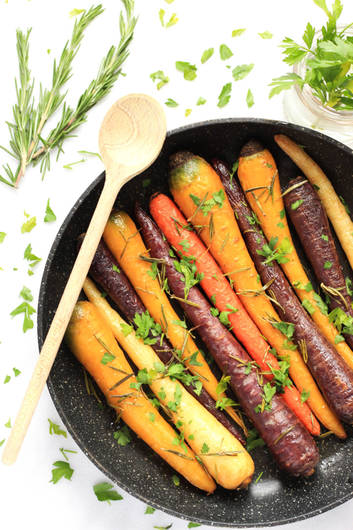 Roasted Rainbow Carrots with Rosemary and Parsley