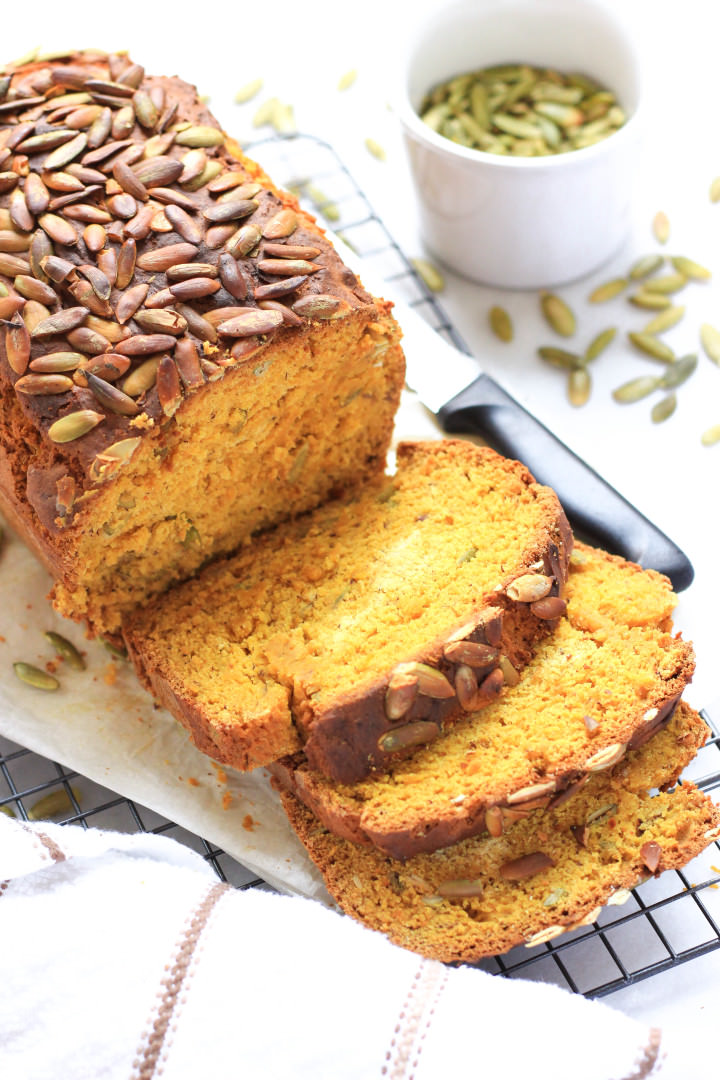 Close up shot of slices of pumpkin bread.
