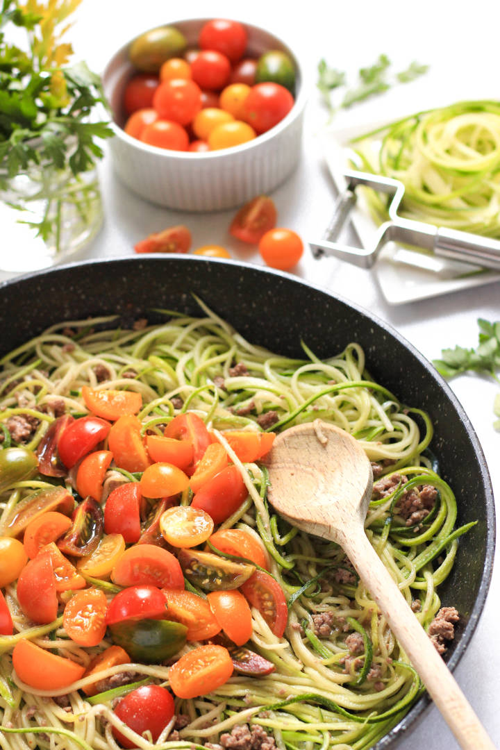 Zucchini Noodles with Minced Beef and Mini Heirloom Tomatoes