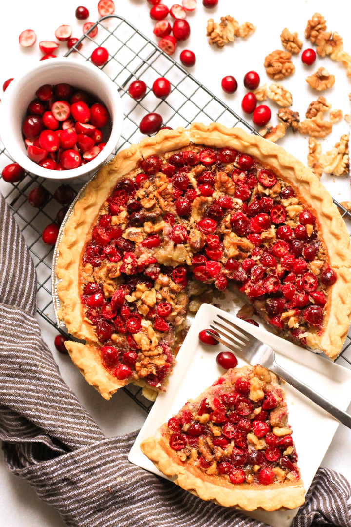 Sliced cranberry pie.