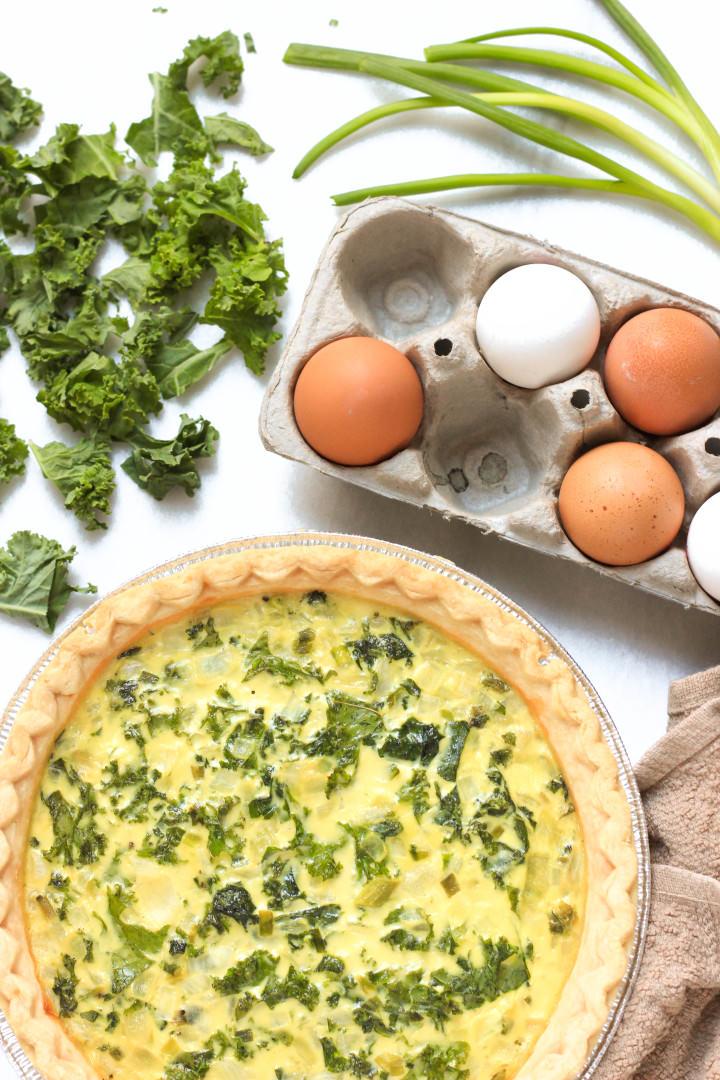 Gluten-free Kale & Spring Onion Quiche