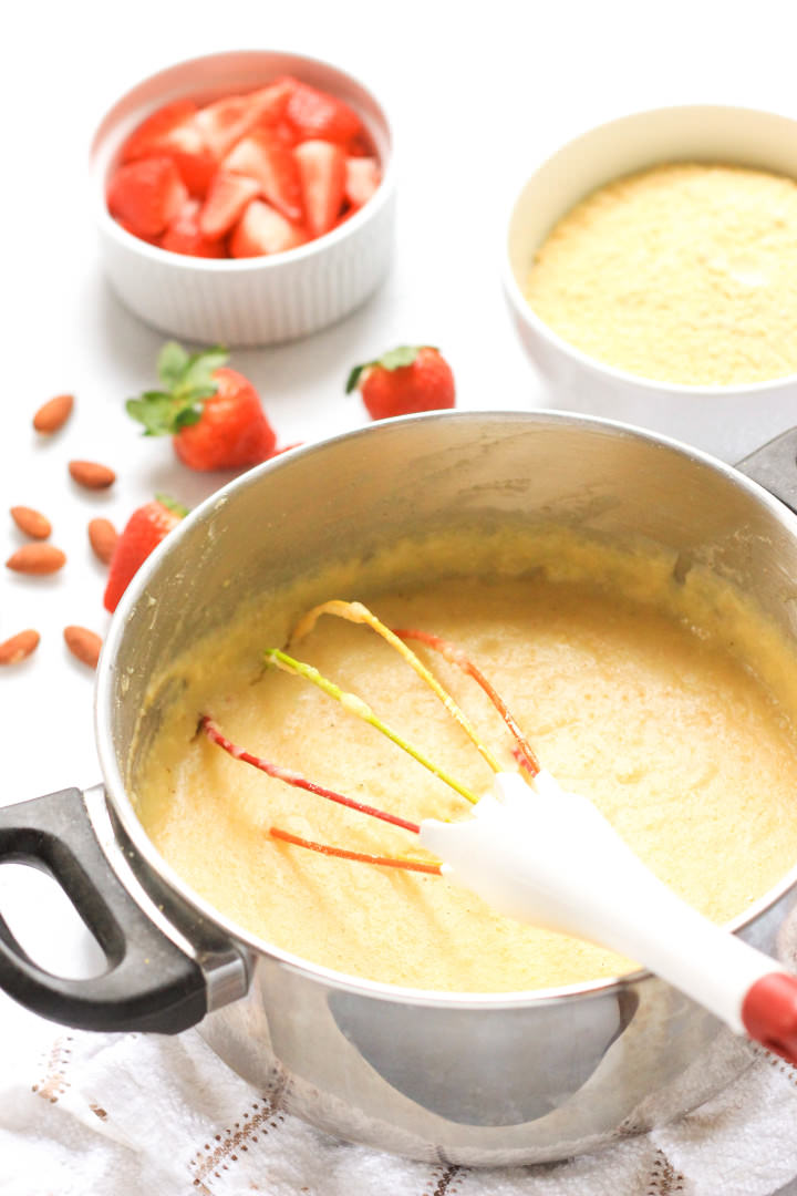 Creamy Breakfast Polenta with Strawberries & Almonds