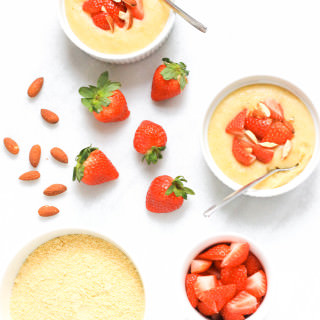 Creamy Breakfast Polenta with Strawberries & Almonds