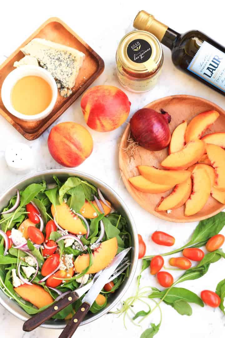 Peach, Arugula & Tomato Salad with Honey Olive Oil Dressing