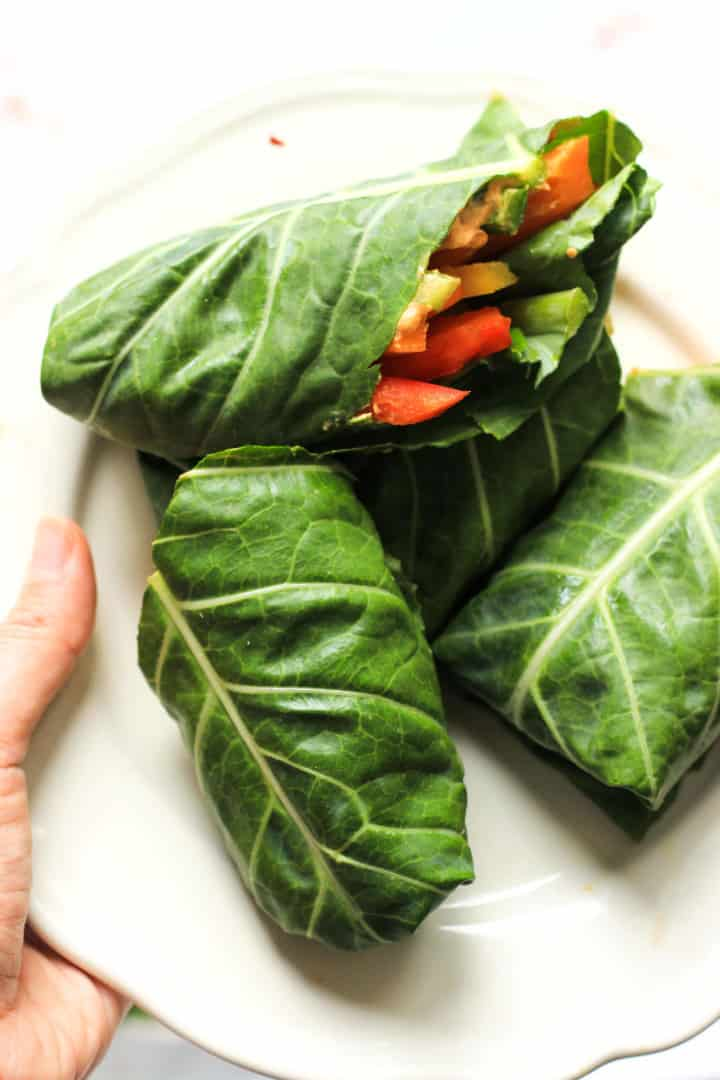 Rainbow Veggie Collard Wraps