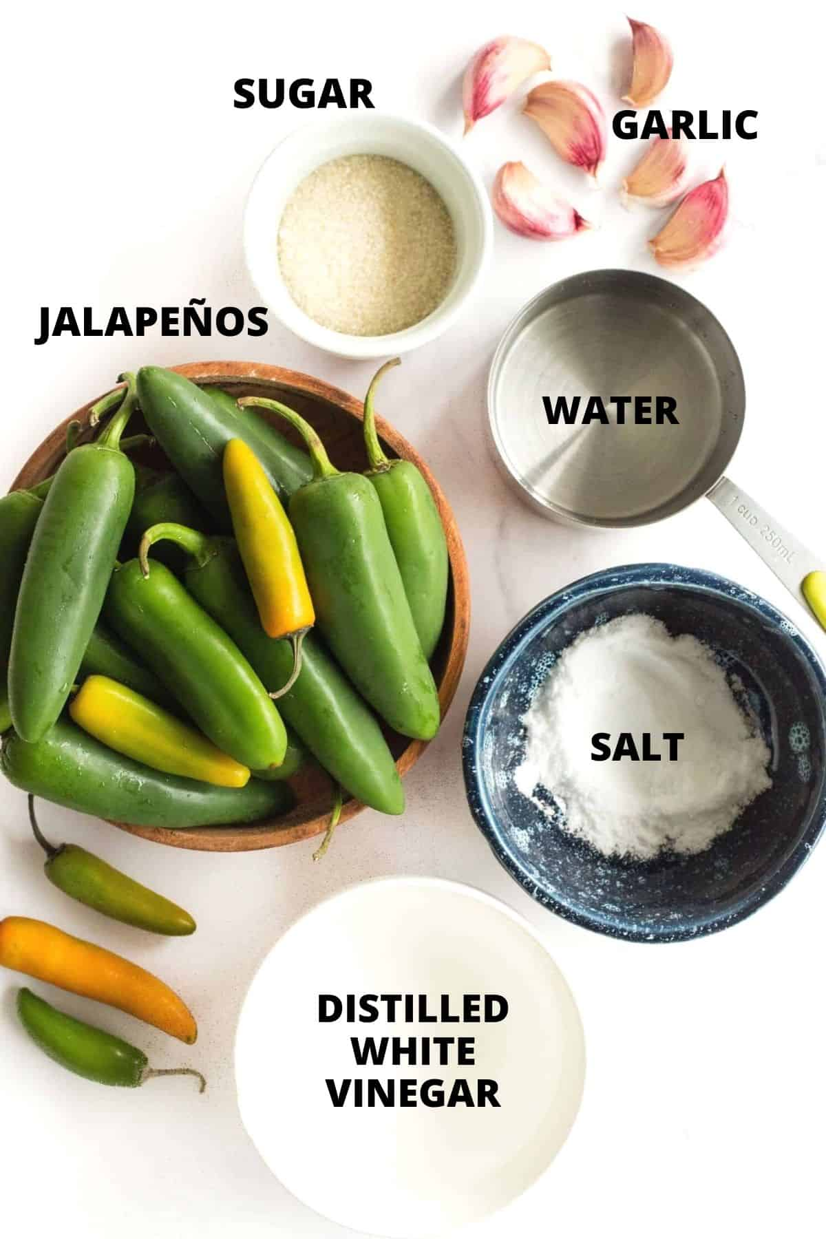 Ingredients required for the quick pickled jalapeño recipe.