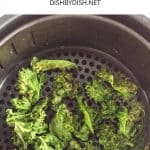Air fried kale chips in an air fryer basket