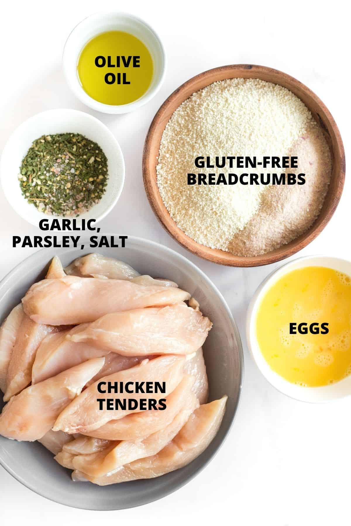 Labeled ingredients for air fryer chicken tenders.