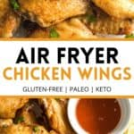 Pinterest image for air fryer chicken wings