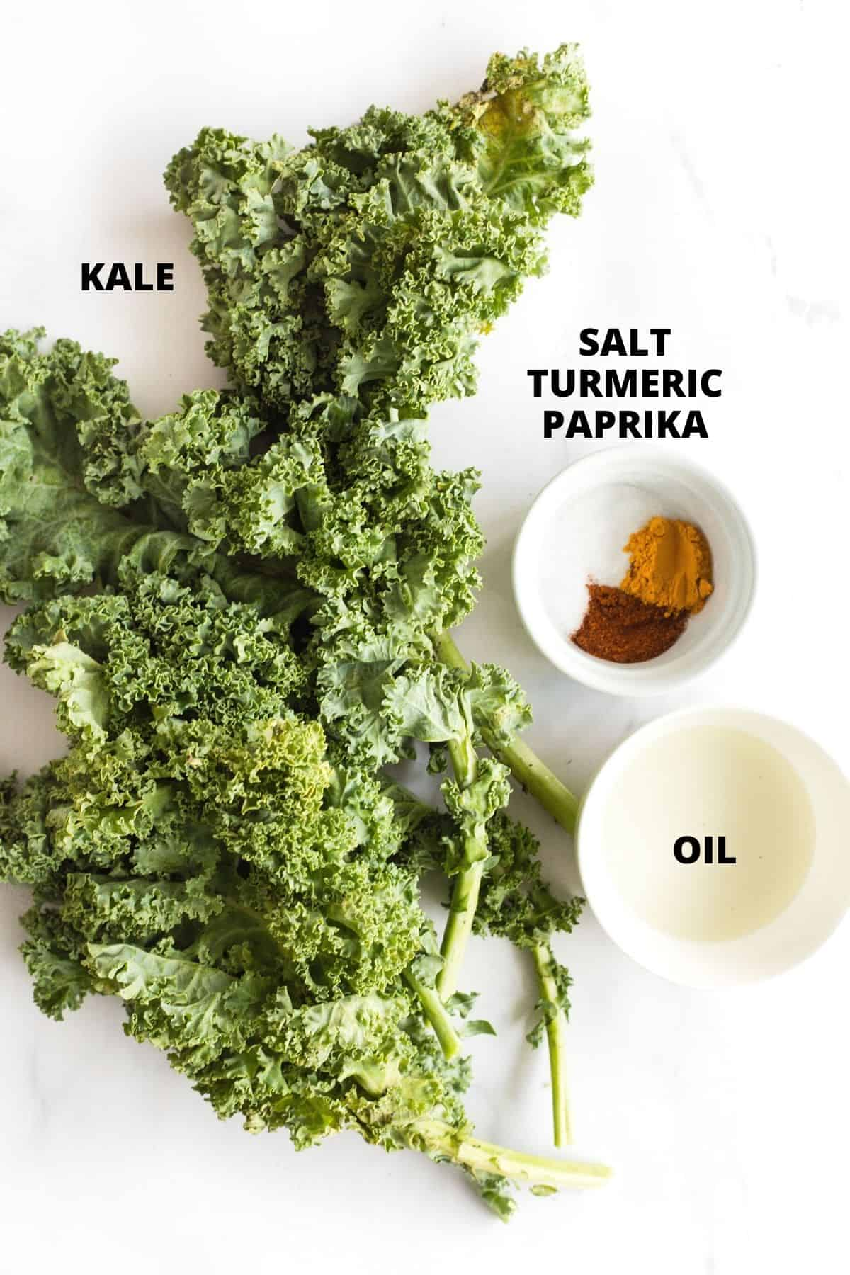 Labeled ingredients for air fryer kale chips recipe.