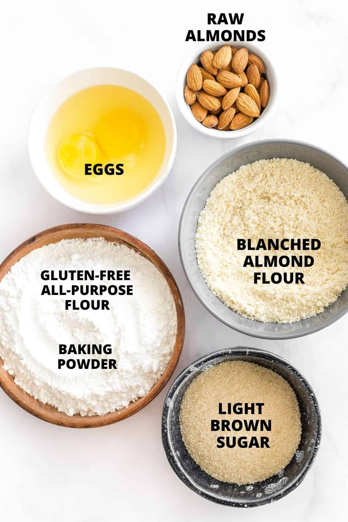 Labeled ingredients for almond biscotti recipe.