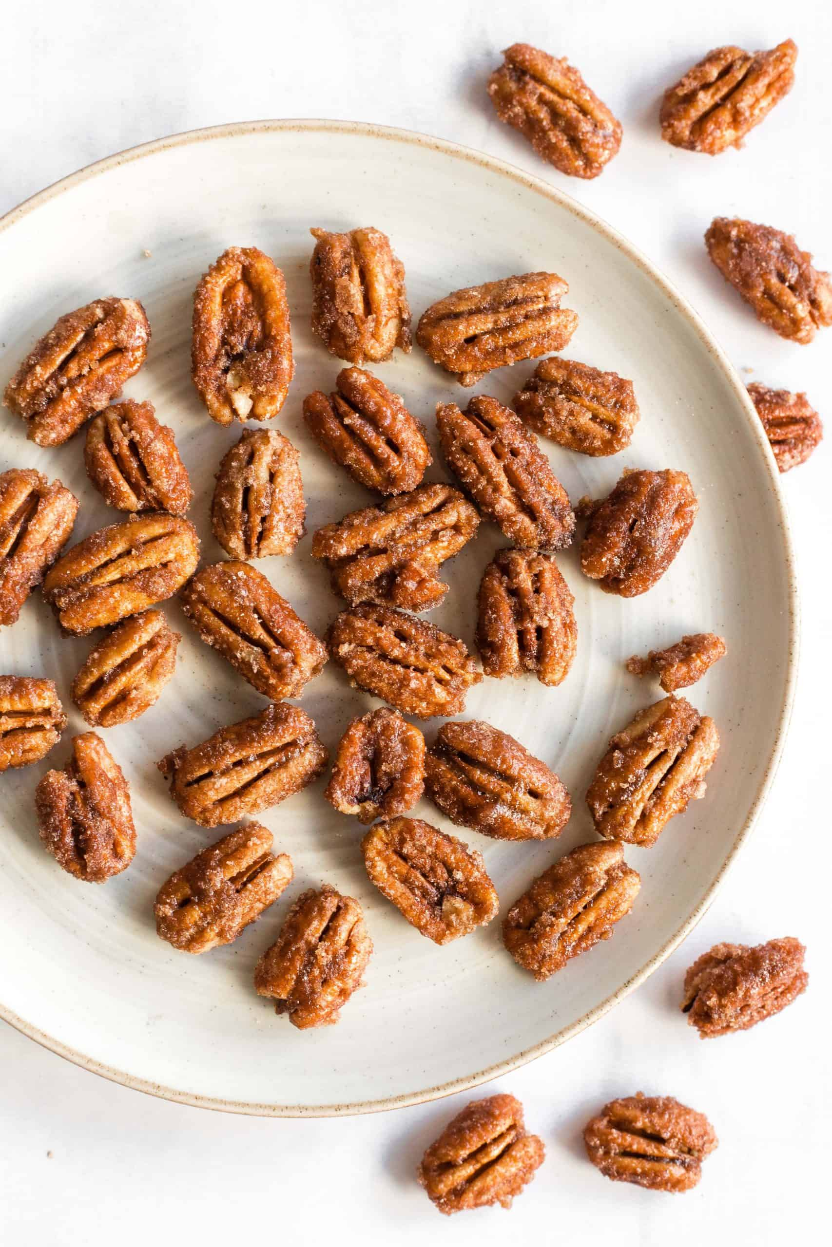 A plate full of pecans.