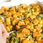 Pinterest image for cornbread stuffing