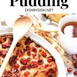 Pinterest image for cranberry bread pudding